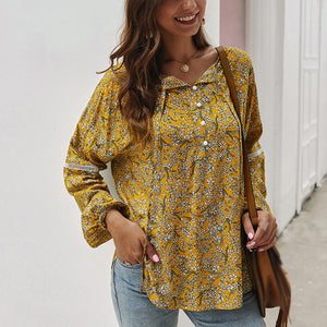 Women Button Floral Lace-Up Tops Blouse Long Sleeve Vintage Loose Casual