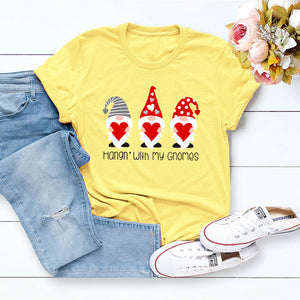 Gnomes Printed Round Neck Short Sleeve T-shirt