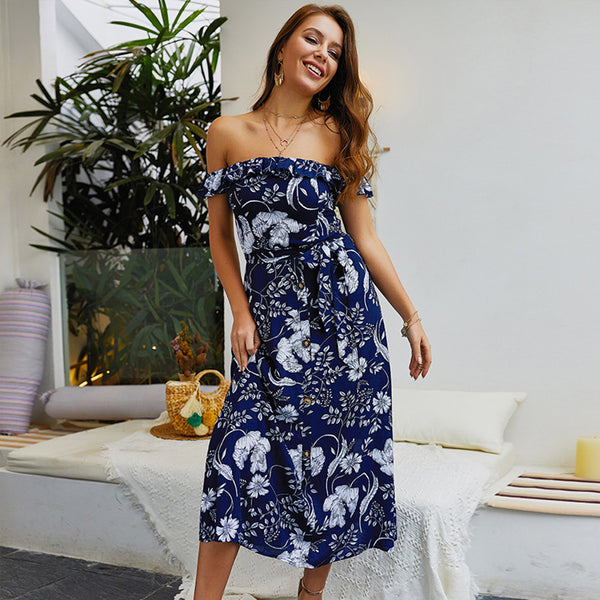 Fashion Sexy Occident Schulterfrei Button Floral Bohemian Long Dress