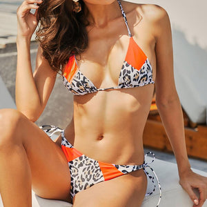 Women's Slim High Waist Bikini Split Leopard Camisole
