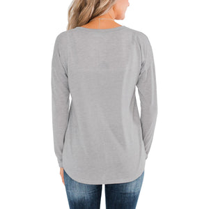 Women Casual Buttons Round Neck Tops Solid Color Long Sleeve T-Shirt Plus Size