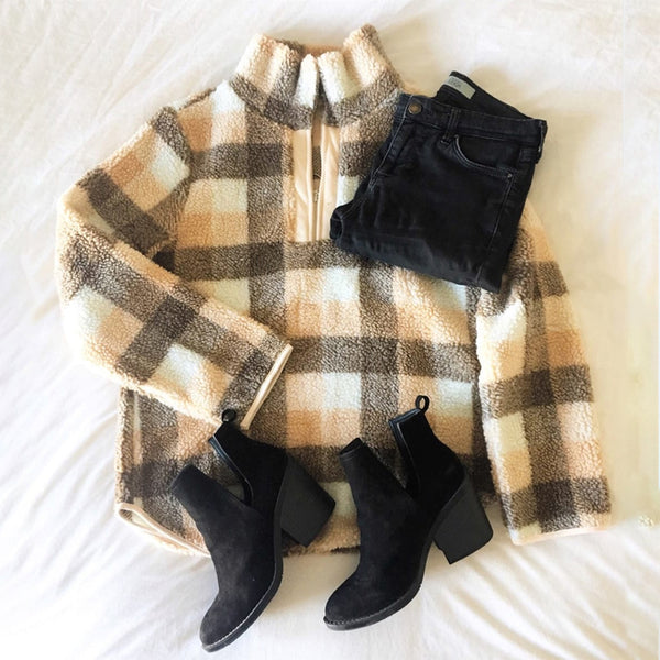 Women's Casual Velvet Front Collar Zip-up Plaid Sweater