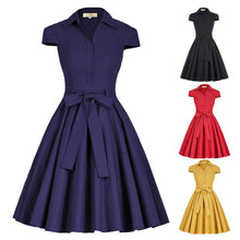 Load image into Gallery viewer, Women's Vintage Picnic Dress - Cap Sleeve, Collar High, Stretchy