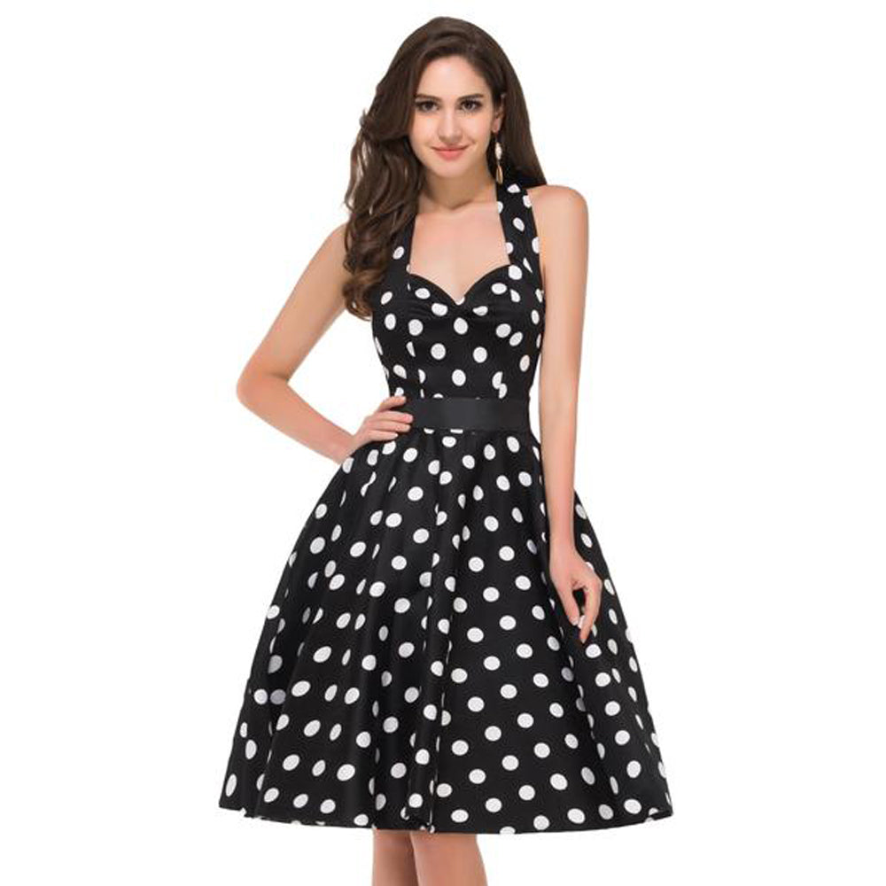 Sem mangas Na Altura Do Joelho Polka Dot Algodão Pin-up Vintage Swing Dress