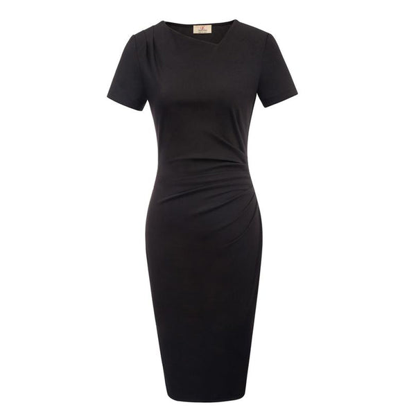 Black Short Sleeve Asymmetric Neck Pleated Hips-Wrapped Pencil Dress