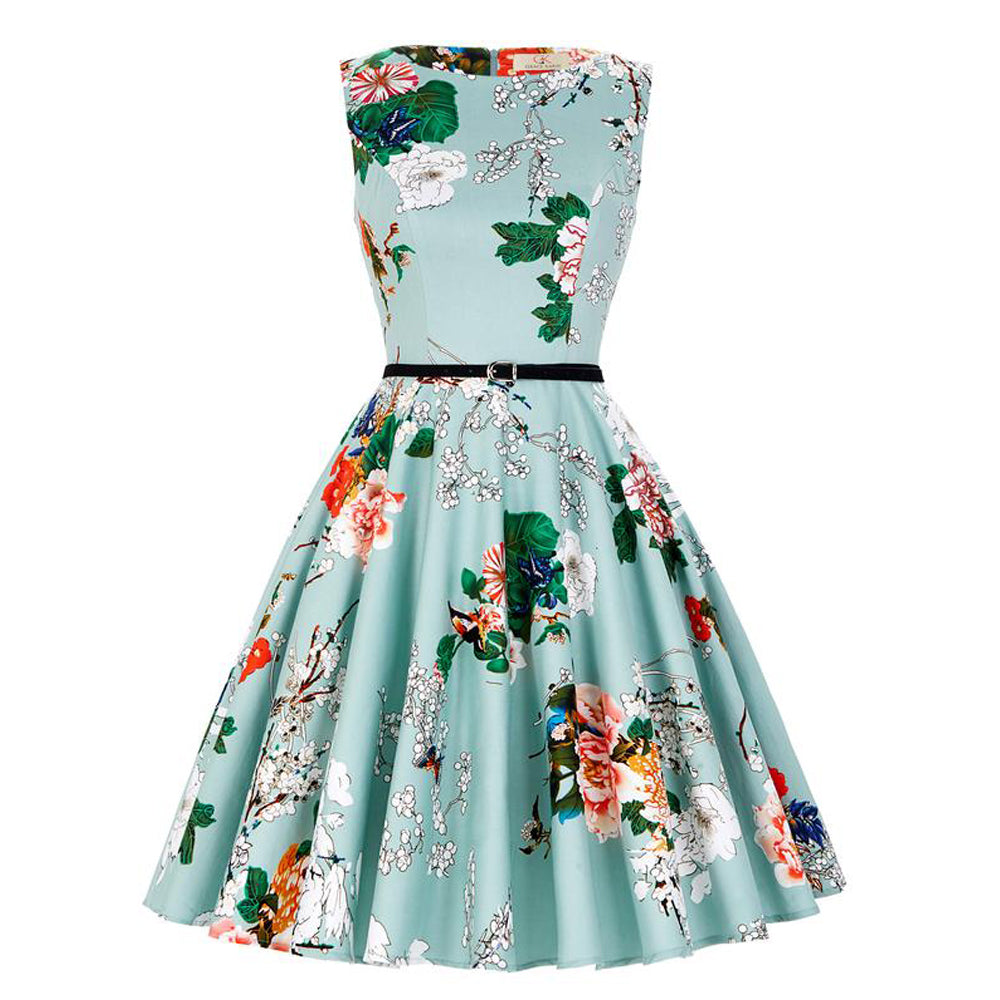 Vintage Retro 1950s Cotton Swing Summer Dress