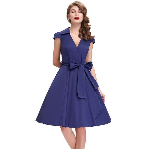 Women's Vintage Party Dress with Belt - V-Neck and Knee-Length