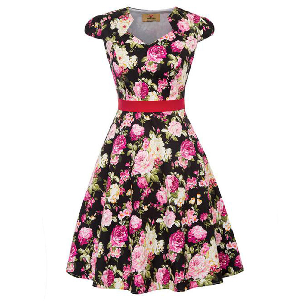 GK Mulheres Retro Vintage Floral Padrão Cotton Party Dress