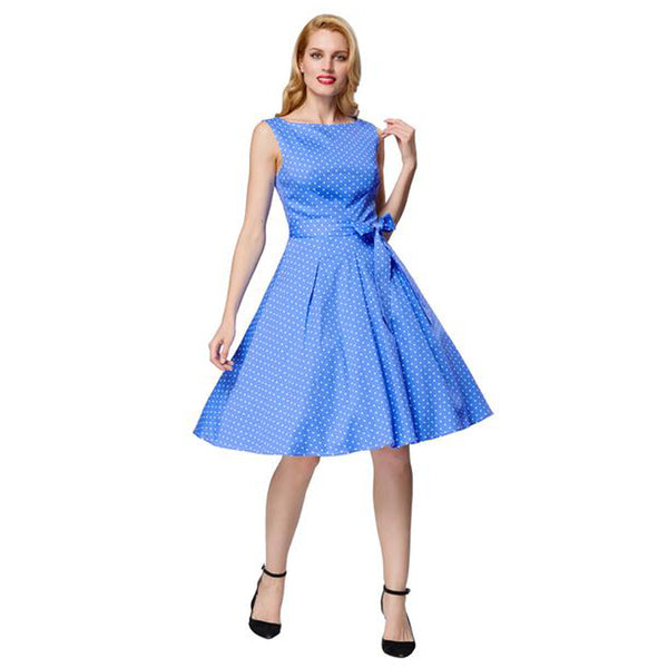 Sky Blue and White Cotton Flared Vintage Party Dress with Belt