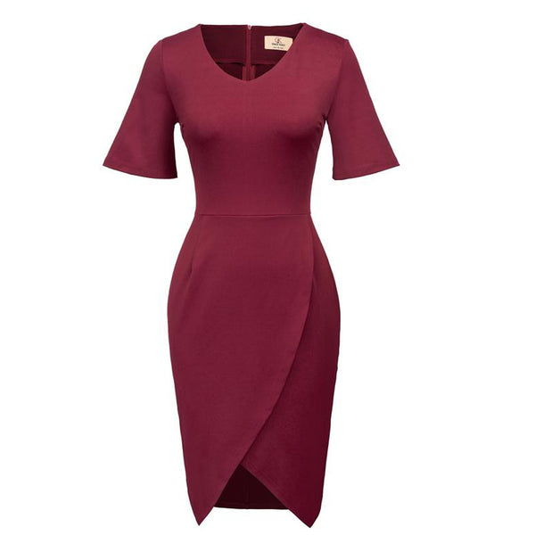 Wine Red and Black Short Flared Sleeve Body-con Pencil Dress
