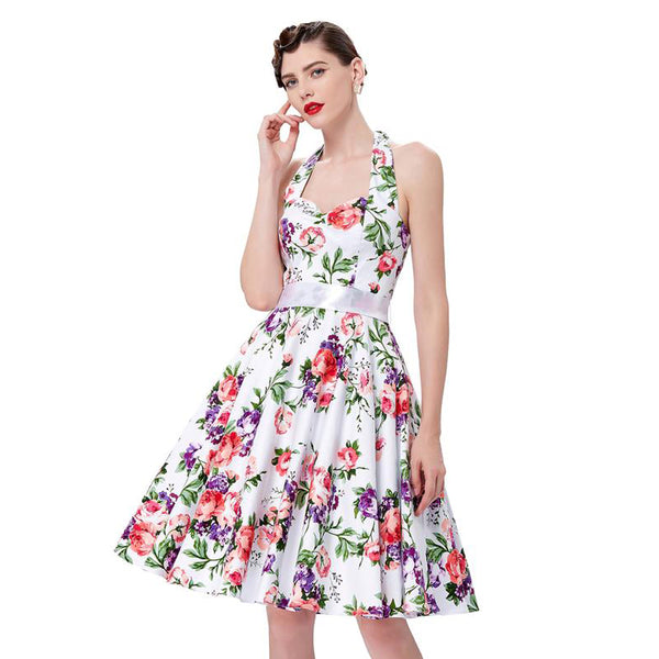 Padrão Floral Halter Sweetheart Swing Tea Dress