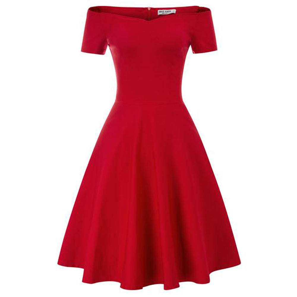 GK Vintage Swing Dress - 1 / 2 Ärmel, Schulterfrei, V-Ausschnitt, Stretchy