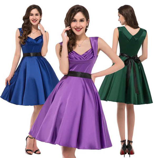 1950's Women's Vintage Party Dress - Sleeveless, V-Neck