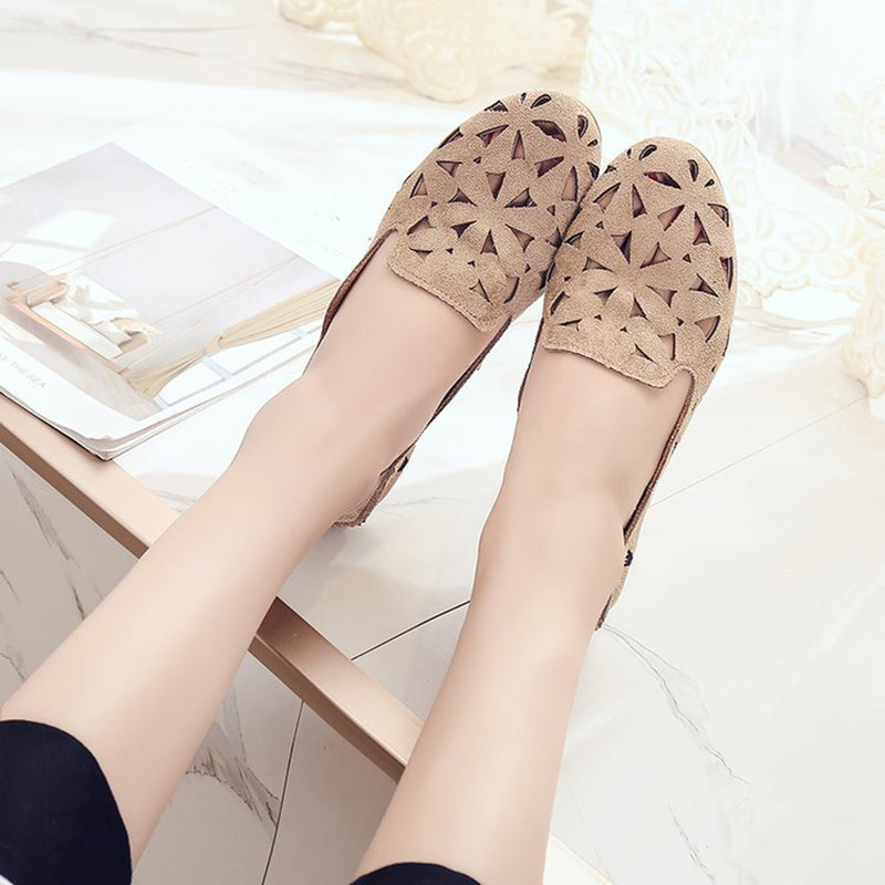 Hollow Breathable Flat Soft Bottom Women's Shoes