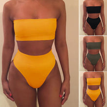 Load image into Gallery viewer, Summer Women's Sexy Solid Color Tube Tops Bikini 2pcs Set Swimsuit No Chest Pad