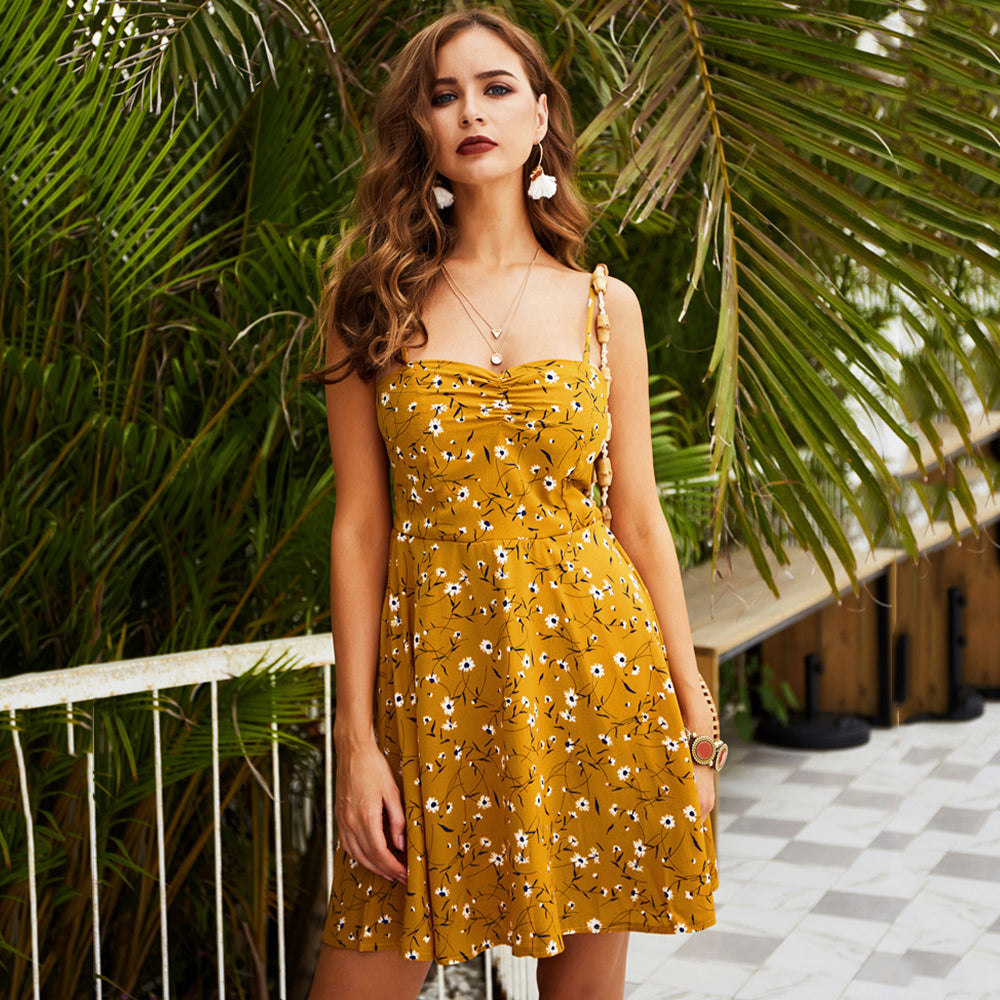 Women Above-Knee Dress Summer Sling Floral Backless Holiday Beach Fashion