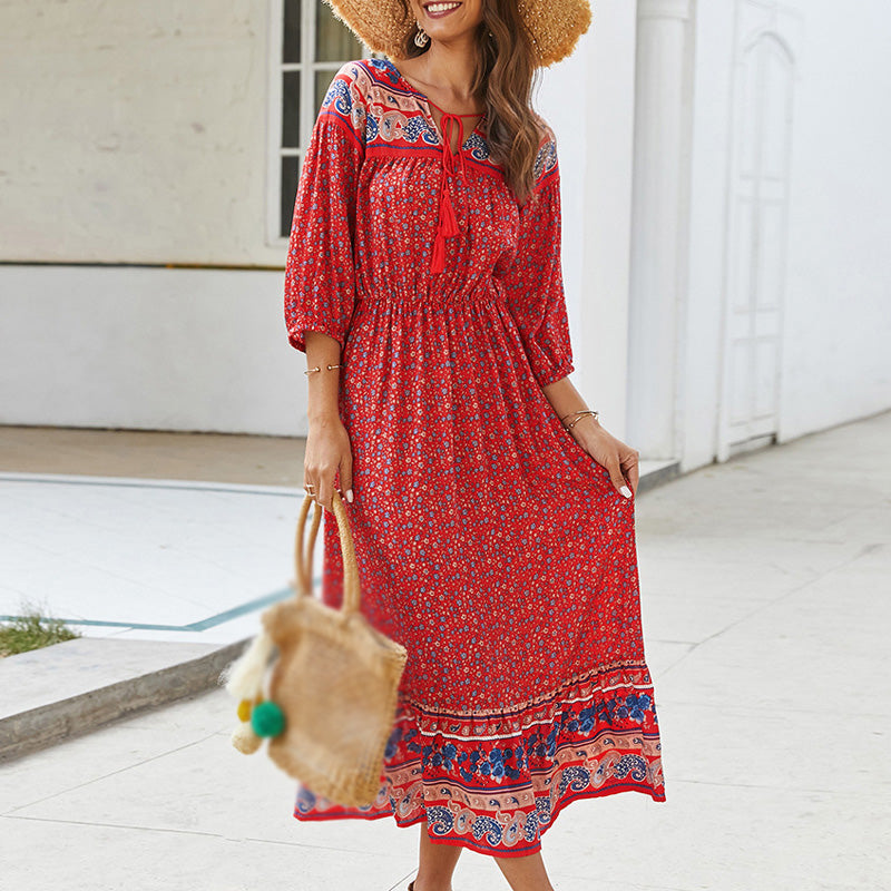 Women's 3/4 Sleeve Bohemian Floral V-neck Dress - PRESALE