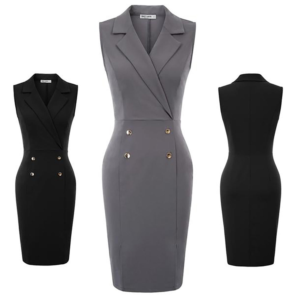 GK Women Sleeveless Lapel V-Neck Front Split Hips-Wrapped Bodycon Pencil Dress