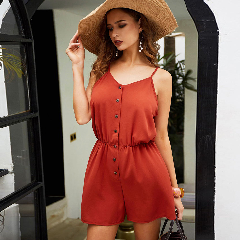 Women's Summer Mini Jumpsuit - V-Neck with Sling, Button Down, Backless