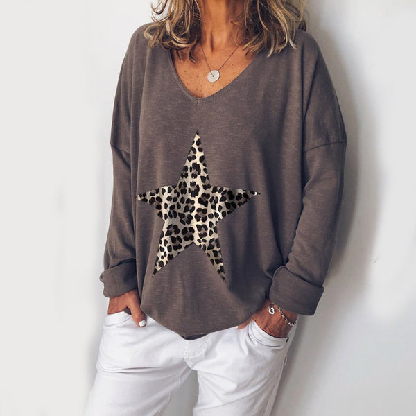 Leopard Print Star Print Loose Long Sleeve Top - PRESALE