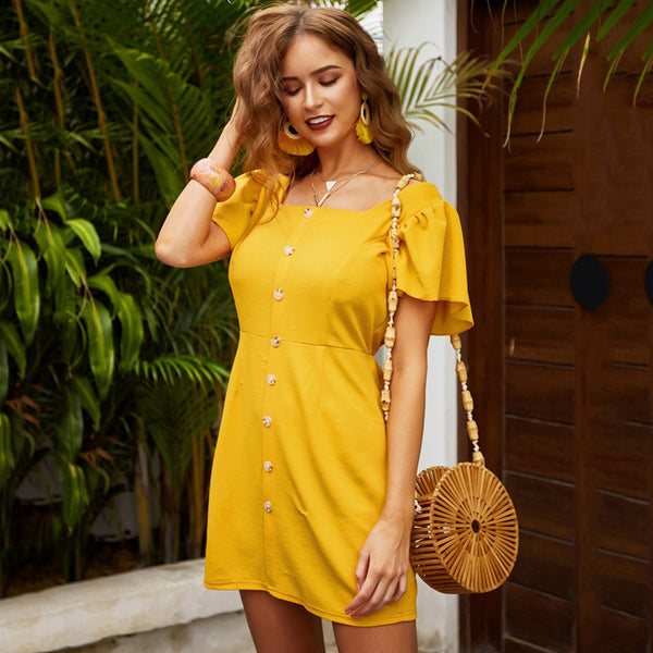 Women Dress Summer Puffed Sleeve Button Down Waist Tightening Fashion Elegant