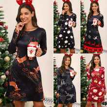 Load image into Gallery viewer, Women Christmas Elk Print Above-Knee Dress Long Sleeve Round Neck Cute