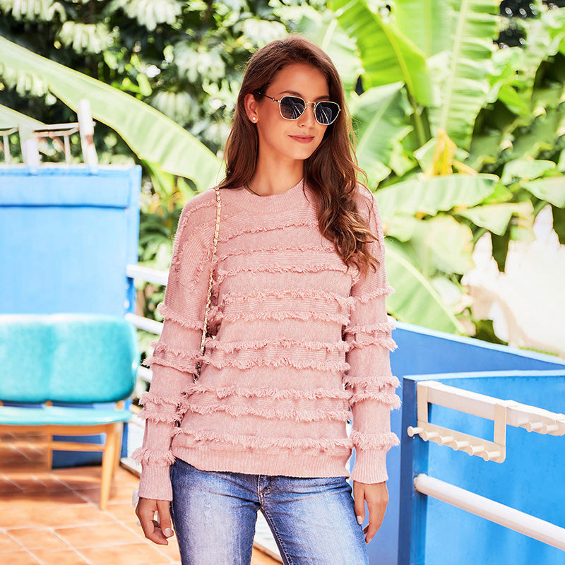 Women's Fashion Sweater Round Neck Long Sleeve Loose Casual Pink Tops