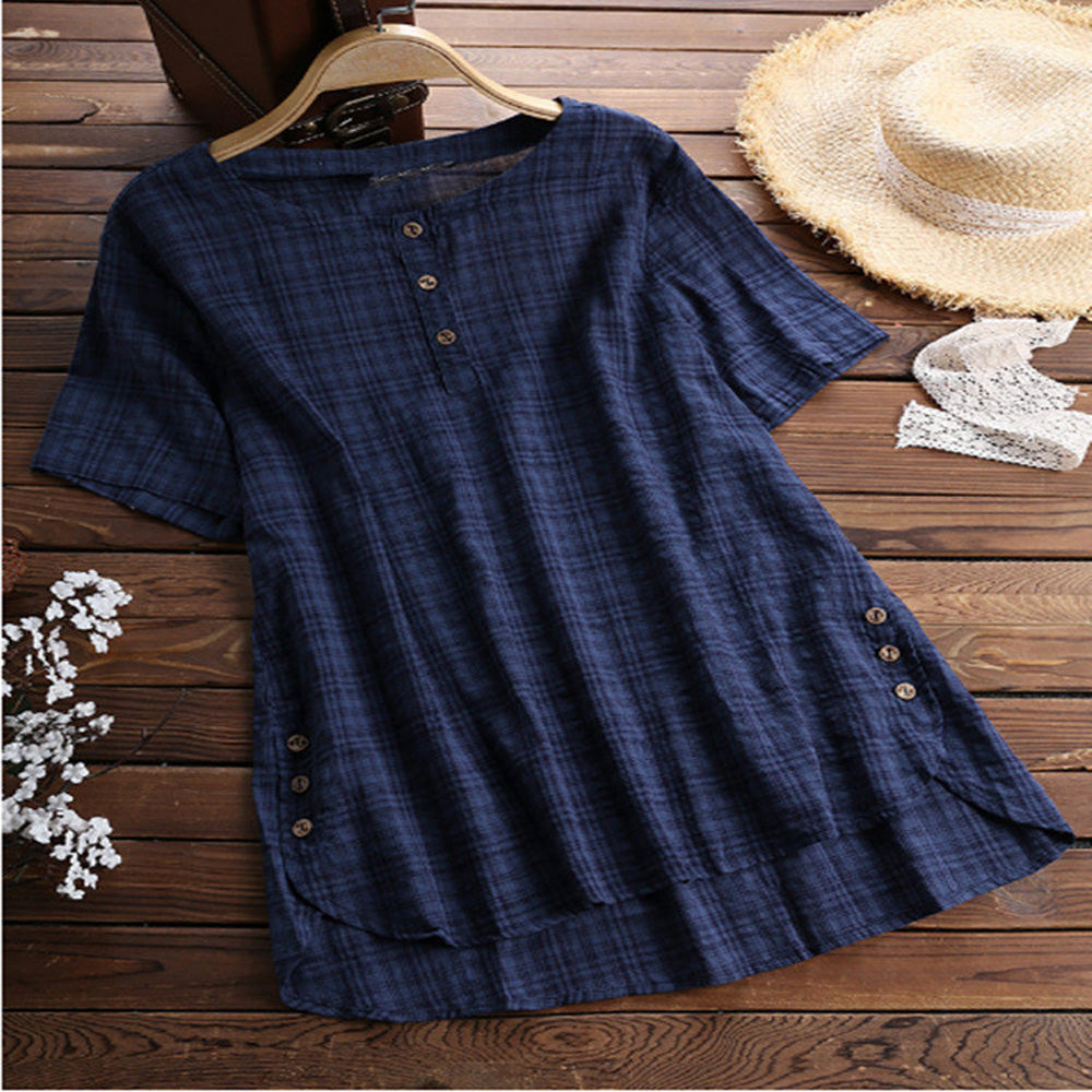 Women's Loose Tops Round Neck Short Sleeve Comfortable Plaid Irregular Button