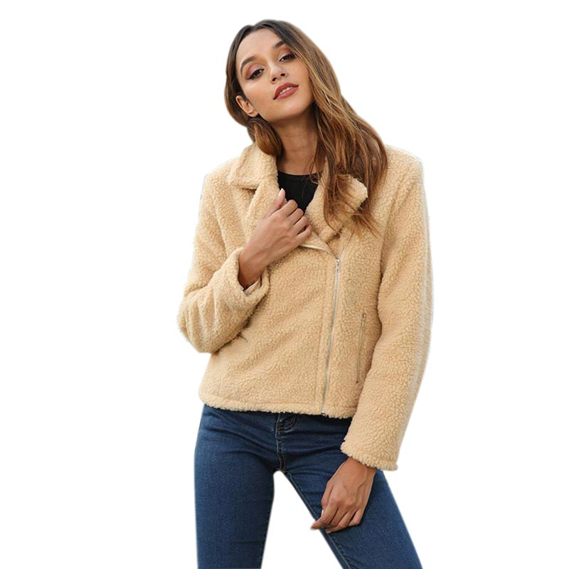 Women's Plush Short Jacket Coat Lapel Long Sleeve Zipper Warm Casual Slim Fit