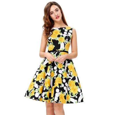 Floral Print Boat-Neck Sleeveless Dress With Belt