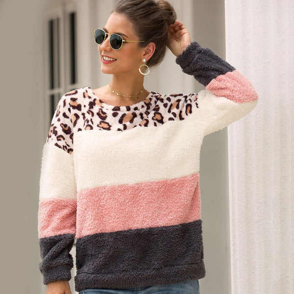 Women Casual Leopard Print Warm Round Neck Long Sleeve Pullover Sweatshirt Tops