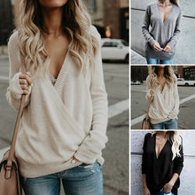 Load image into Gallery viewer, Solid Color Knit Top With Long Sleeves And V-neck