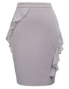 GRACE KARIN Women's Chiffon Ruffles Decorated Hips-Wrapped Body-con Pencil Skirt_Grey