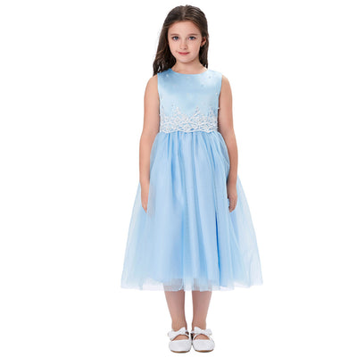 Grace Karin Tea Length A Line Sleeveless Round Neck Flower Girl Dress With Appliques / Faux Pearls_Blue