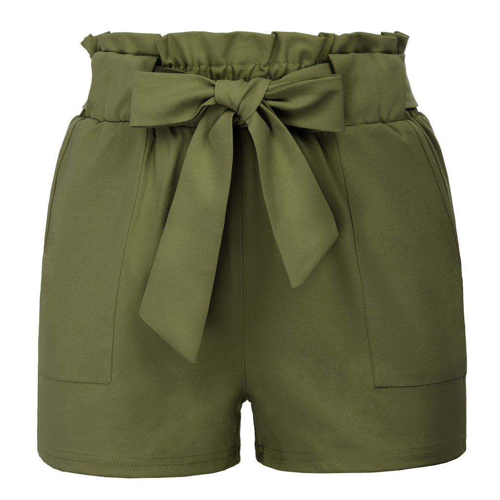 GRACE KARIN Women's Casual Slim Fit Elastic Waist Short Pants Shorts With Pockets_Army Green