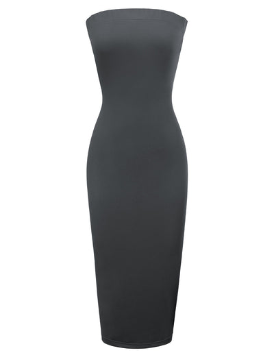 Grace Karin Women's Solid Color Strapless Straight-Neck High Stretchy Pull-on Hips-wrapped Bodycon Pencil Dress _Dark Grey