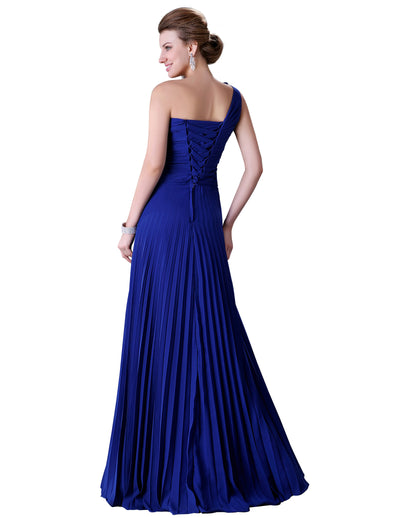 Stock One Shoulder Pleated Party Gown Prom Ball Evening Dress