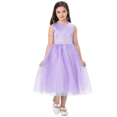 Grace Karin Tea Length A Line Sleeveless Round Neck Flower Girl Dress With Appliques / Faux Pearls_Purple