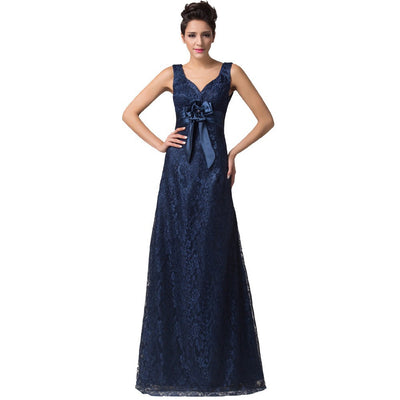 Grace Karin V-Neck Lace A-Line Princess Wedding Party Mother Of Brides Dress_Navy Blue