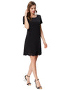 Grace Karin Women's Solid Color Short Sleeve Crew Neck Hollowed Bottom Dress_Black