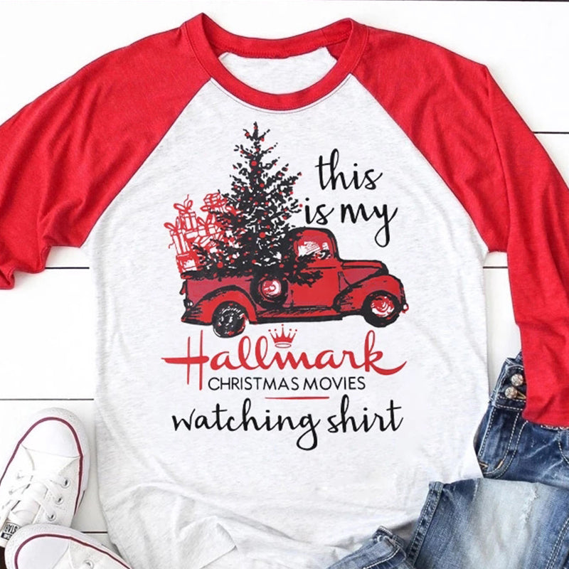 Women This is My Hallmark Christmas Movie Watching Shirt Raglan Sleeve T Shirt