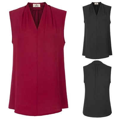 GRACE KARIN Black and Wine Red Women's Basic Solid Color Sleeveless V-Neck Comfortable Chiffon Tops Blouse