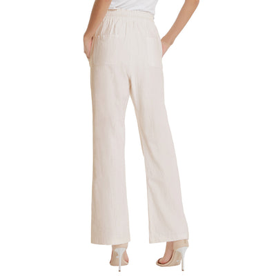 Women's Casual Solid Color Cotton Long Pants Drawstring Waist Trousers