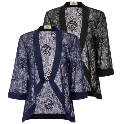 GRACE KARIN Women's Black and Navy Blue Casual 3/4 Sleeve Open Front See-through Lace Cover-up Coat