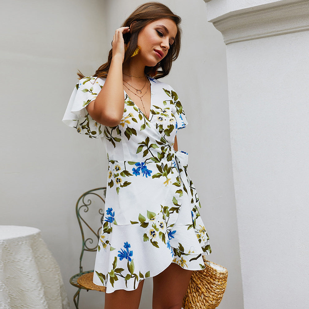 2019 Women's Summer Bohemian Dress - Floral Printed, V-neck and Short Sleeve style