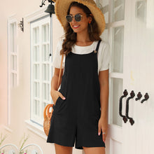 Load image into Gallery viewer, Women's Casual Cute Solid Color Jumpsuit Sling Button Loose Bib Shorts