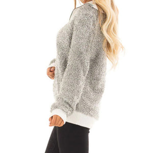 Long-sleeved Plush Stitched Turtleneck Top In Autumn And Spring