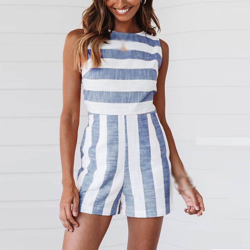 Women's Summer Jumpsuit Romper Dress - Blue, Sleeveless, Striped, High Waist