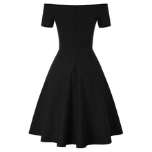 Load image into Gallery viewer, GK Vintage Swing Dress - 1/2 Sleeve, Off Shoulder, V-Neck, Stretchy