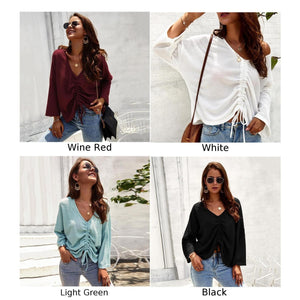 Women Long Sleeve V-Neck Pleated Solid Color Lace-Up Fashion Tops Blouse